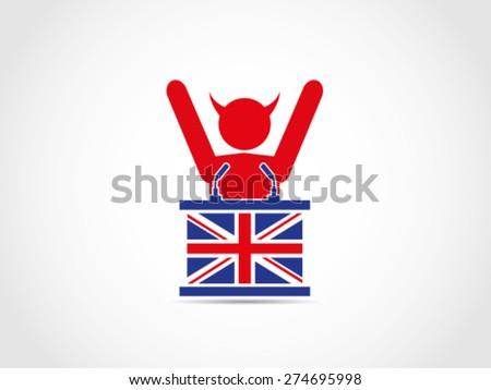 UK Britain Evil Supporter Celebrating - stock vector