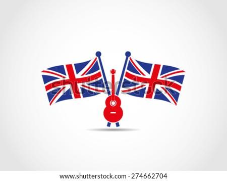 UK Britain Music Guitar Sing Writer Musician - stock vector