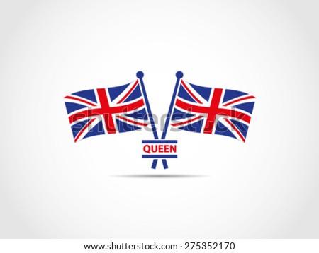 UK Britain Queen Emblem - stock vector