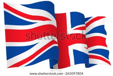 UK British flag waving - vector illustration isolated on white  - stock vector