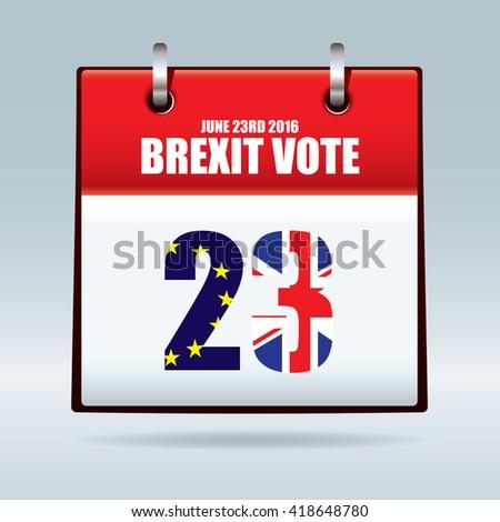 Uk exit european union vote date calendar 23rd june 2016 - stock vector