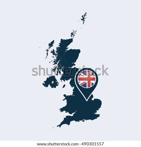 UK flag and map. Vector Illustration.