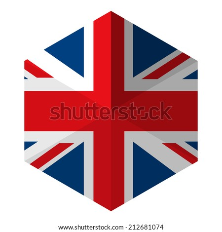 UK Flag Hexagon Flat Icon Button - stock vector