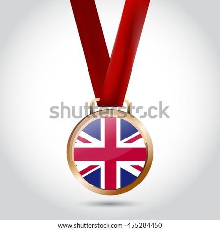 UK Flag in Bronze Medal. Vector Illustration - stock vector