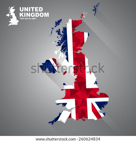 UK flag overlay on UK map with polygonal and long tail shadow style (EPS10 art vector)