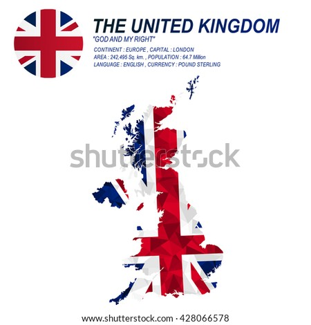 UK flag overlay on UK map with polygonal style.(EPS10 art vector) - stock vector