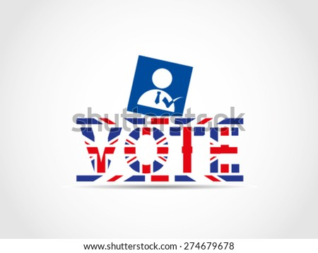 UK Great Britain Elections Choose Candidate Checked Choice Voting Ballot Box Text - stock vector