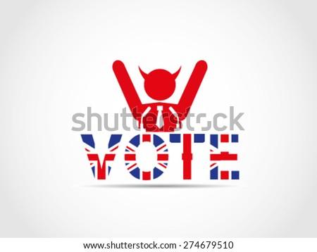 UK Great Britain Elections Evil Corrupt Politician Celebrating Wining Result - stock vector