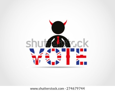 UK Great Britain Elections Evil Undercover Politician Candidate Sneaking Speech Campaign - stock vector