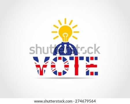 UK Great Britain Elections Politician With Brilliant Idea Solution Program Projection Inspire People - stock vector