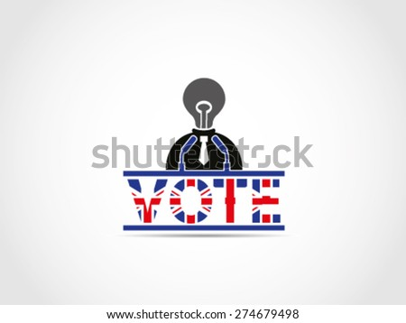 UK Great Britain Elections Politician Without Ideas Solution Campaign - stock vector