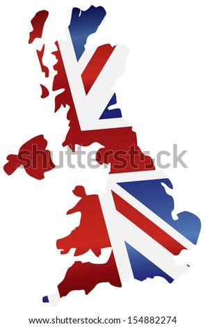 UK Great Britain Union Jack Flag in Map Silhouette Vector Illustration