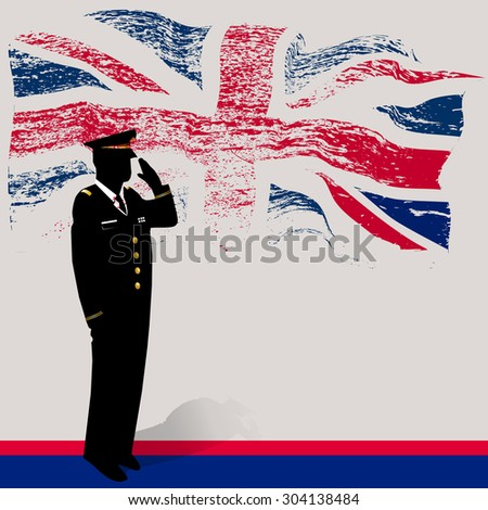 UK  grunge flag with soldier saluting.