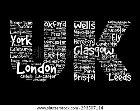 UK Hand drawn letters with cities names words cloud, vector concept background