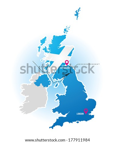 UK map show Scotland and England divide - stock vector