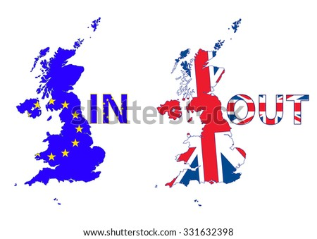 UK Map. UK and EU flags. UK leaving EU with the Brexit - stock vector