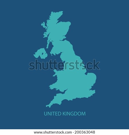 UK MAP VECTOR, UNITED KINGDOM MAP, BRITAIN MAP  - stock vector