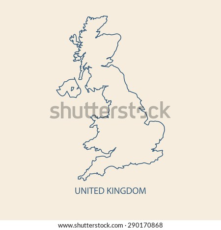 UK MAP VECTOR, UNITED KINGDOM MAP outline vector - stock vector