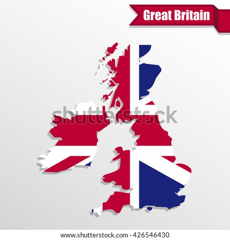UK map with UK flag inside and ribbon