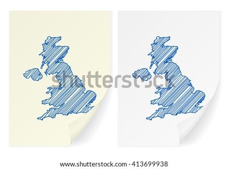 UK scribble map on a white background. - stock vector