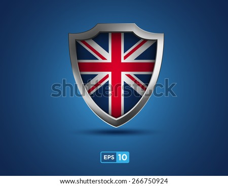 UK shield on the blue background - United Kingdom of Great Britain - stock vector