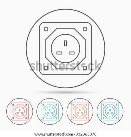 UK socket icon. Electricity power adapter sign. Linear circle icons.