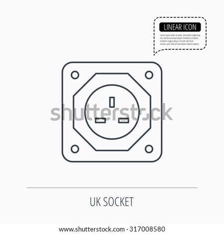 UK socket icon. Electricity power adapter sign. Linear outline icon. Speech bubble of dotted line. Vector