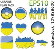 Ukraine Flag Map Pack - 9 in Total - stock photo