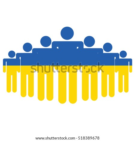 Ukraine flag with business people and social community symbol isolated on white
