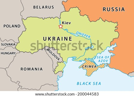 Ukraine map after Crimean crisis 2014. New Ukraine and Russian Federation borders. Fully editable vector graphics.