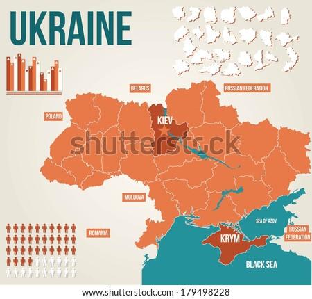Ukraine political map - vector map - stock vector