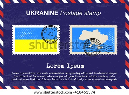 Ukraine postage stamp, postage stamp, vintage stamp, air mail envelope. - stock vector