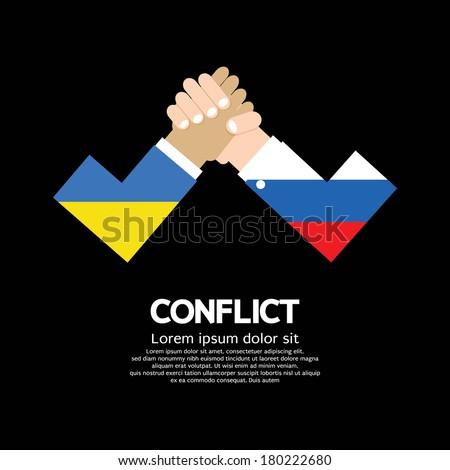 Ukraine VS Russia Arm-Wrestle - stock vector