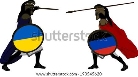 Ukrainian and pro-Russian warriors - stock vector