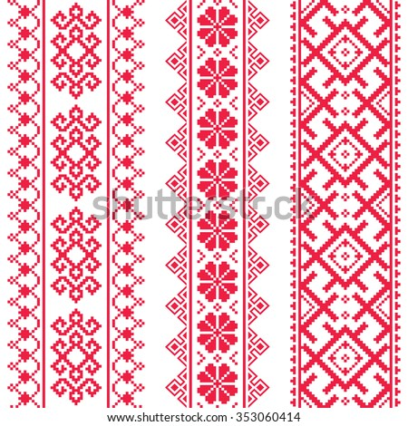 Ukrainian, Belarusian red embroidery seamless pattern - Vyshyvanka  - stock vector