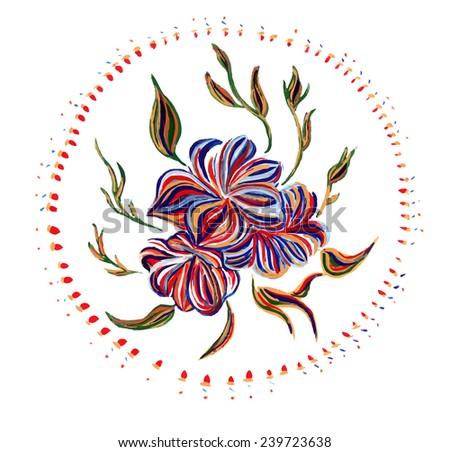 Ukrainian folk art. Ukrainian national motives. Vector illustrations. Hand drawn illustration in Ukrainian folk style. - stock vector
