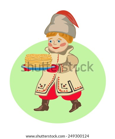 Ukrainian kid bears a plate of pancakes holiday of Shrovetide - stock vector