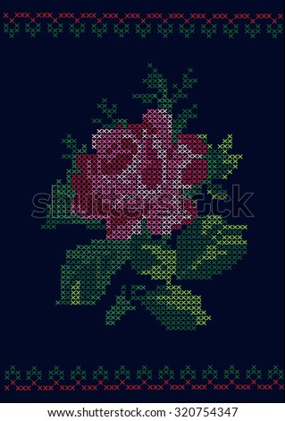 Ukrainian traditional embroidered rose / vector lower