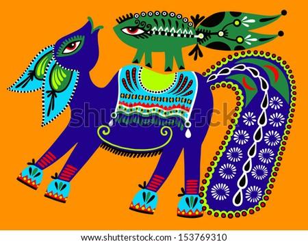 ukrainian tribal ethnic painting, unusual horse, folk illustration - stock vector