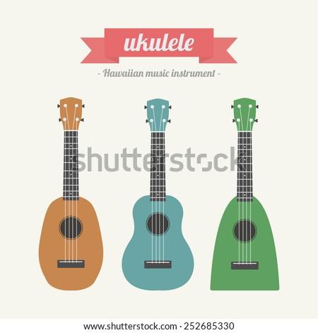 ukulele, hawaiian music instrument, pastel style - stock vector