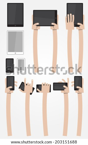 Ultimate Cartoon Arms Collection - Caucasian with digital devices - stock vector
