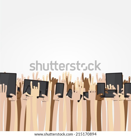 Ultimate Cartoon Arms Collection - Crowd of caucasian, asian and dark-skinned people put their arms and hands up int the air, some of them holding digital devices like cell phone or tablet - stock vector