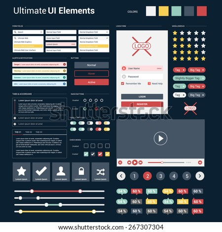 Ultimate dark web UI elements | responsive websites, mobile apps & user interface | UI Mega Collection | flat design web elements: Icons, web forms, button, check box, radio button and so on - stock vector