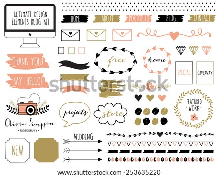 Ultimate design elements blog kit. For your graphic projects, print and internet. Frames, dividers, decorative elements such as logo.  - stock vector