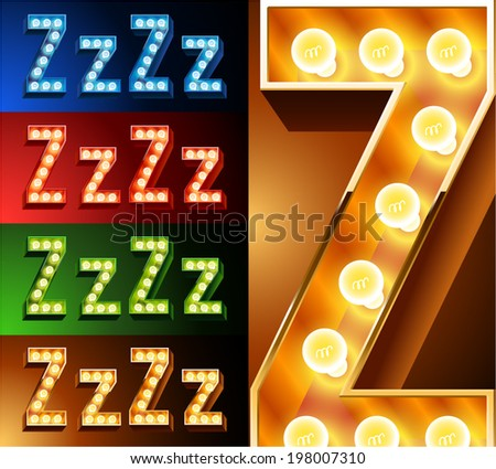 Ultimate realistic lamp board alphabet. Condensed style. Left and right options. Multicolored. Letter z - stock vector