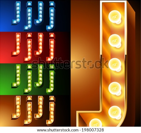 Ultimate realistic lamp board alphabet. Condensed style. Left and right options. Multicolored. Letter j - stock vector