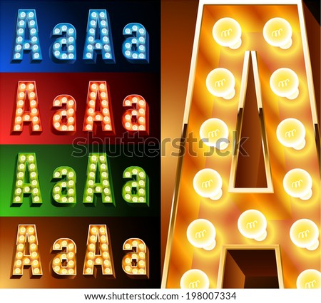 Ultimate realistic lamp board alphabet. Condensed style. Left and right options. Multicolored. Letter a - stock vector