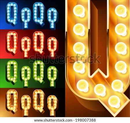 Ultimate realistic lamp board alphabet. Condensed style. Left and right options. Multicolored. Letter q - stock vector