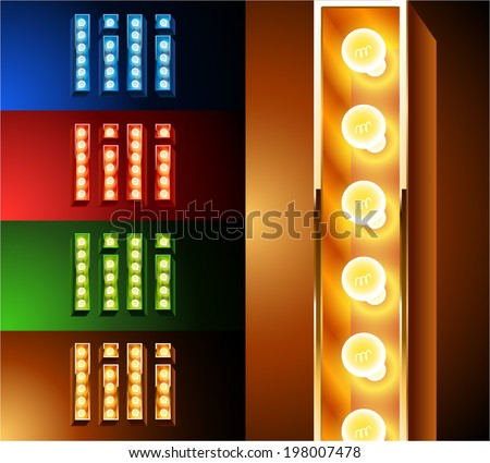 Ultimate realistic lamp board alphabet. Condensed style. Left and right options. Multicolored. Letter i - stock vector