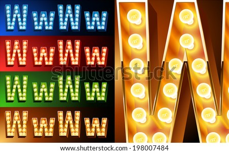 Ultimate realistic lamp board alphabet. Condensed style. Left and right options. Multicolored. Letter w - stock vector
